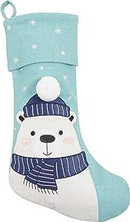 "KAF Home Wool Felt Polar Bear Christmas Stocking - 11"" x 19"""