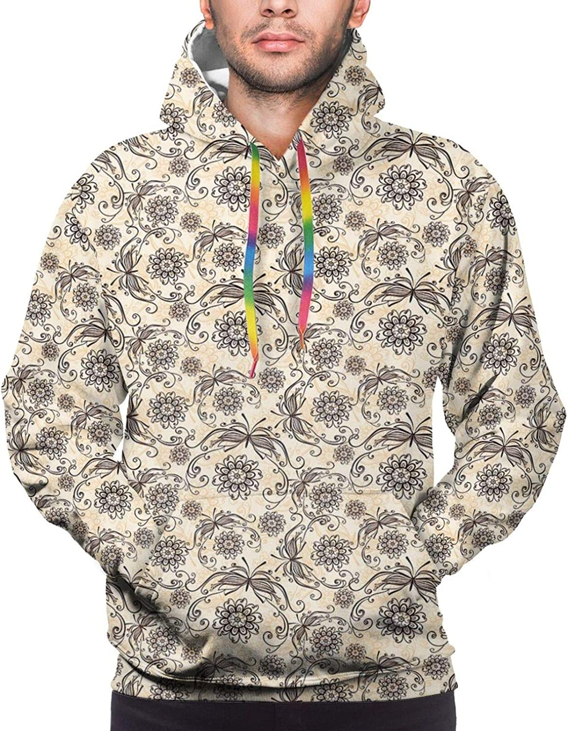 Men's Hoodies Sweatshirts,Nature Caricature with Funny Looking Birds and an Abstract Colored Tree Gardening