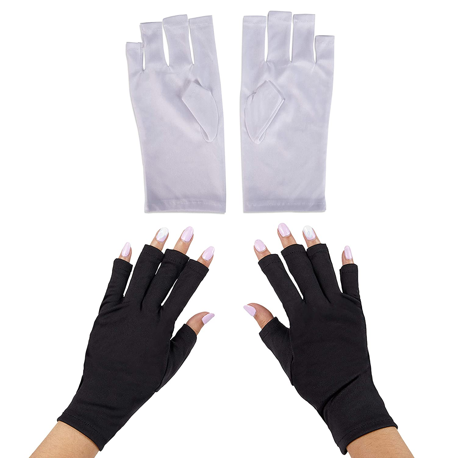 Fingerless UV Light Gloves for Gel Manicures, Sun Protection (2 Colors, 2 Pairs)