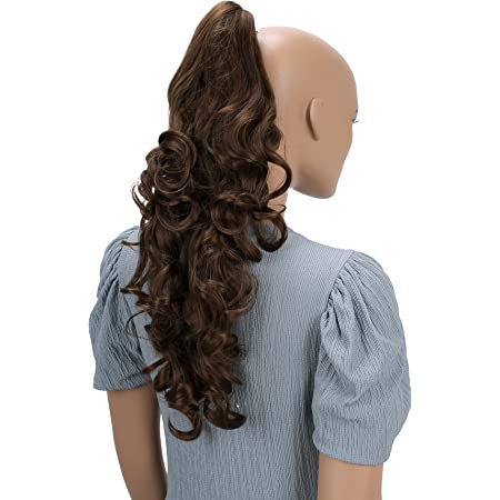 "PRETTYSHOP 24"" Hair Piece Ponytail Clip On Extension Long Voluminous Wavy Heat-Resisting Brown mix # 33/27 H57"