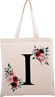 Floral Initial Tote Bag Event Bachelorette Party Baby Shower Bridesmaid Dsgn #4
