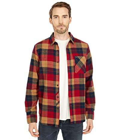 Volcom Caden Plaid Long Sleeve (Rio Red) Men