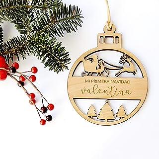 Bolas de Navidad de madera de haya modelo Santa Claus personalizadas ornamento para el árbol de Navidad