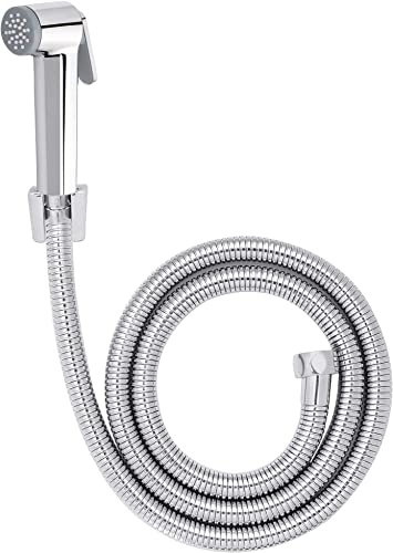 HALOSIS QUALITY FIRST HL 4004HFS Victor Health Faucet SS 304 Grade 1 2 Meter Flexible Hose Pipe with Brass Inserts ABS Plastic Chrome Plated Head and Wall Holder Chrome