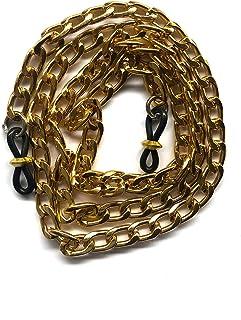 DOCE.MEX   Cadena para lentes Cuban Curb de acero color dorado