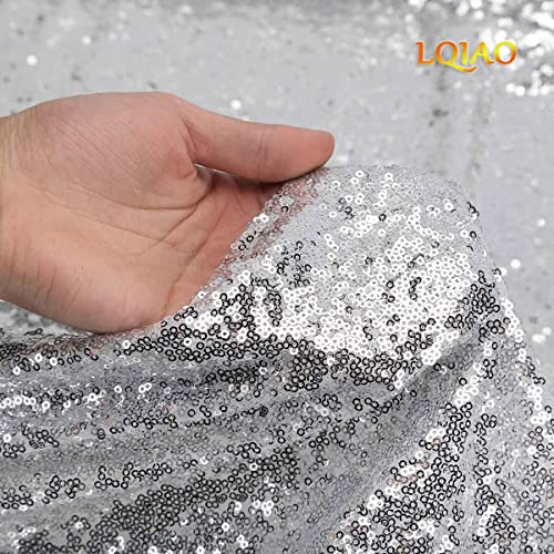 5d4dc42f3db LQIAO Shimmer Silver Sequin Fabric by The Yard Two Way Stretch Spandex  Embroidered Mesh African Lace