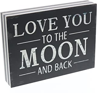 Barnyard Designs Love You to The Moon and Back Wooden Box Wall Art Sign, Primitive..