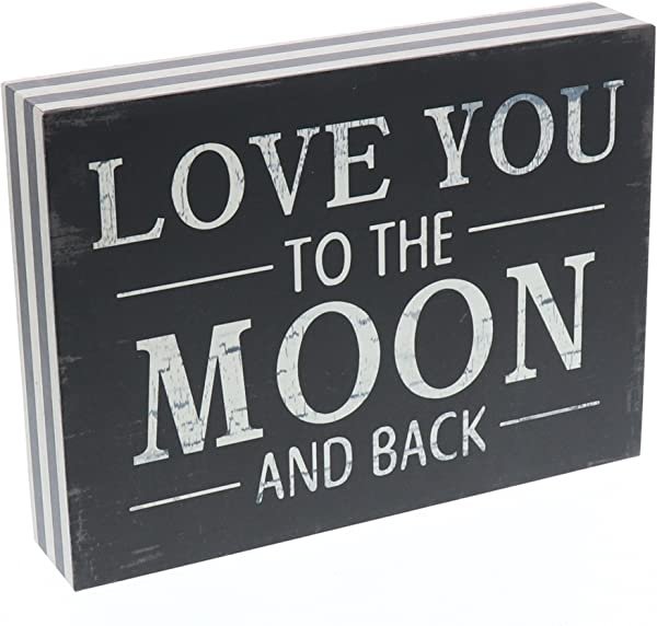 Barnyard Designs Love You To The Moon And Back Wooden Box Wall Art Sign Primitive Country Farmhouse Home Decor Sign With Sayings 8 X 6