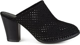 Womens Slide-on Wood Stacked Heel Laser Cut Faux Suede Mules