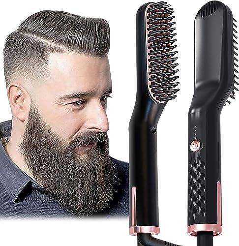 AU Plug Hair Straightening Brush, Beard Straightener Brush, 3-in-1 Ionic Straightening Comb with Anti-Scald Feature H...