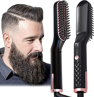 AU Plug Hair Straightening Brush, Beard Straightener Brush, 3-in-1 Ionic Straightening Comb with Anti-Scald Feature Heat R...