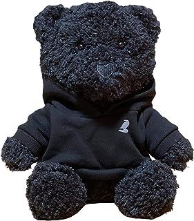 Black Teddy Bear Wearing Black Hoodie, 22 cm, 100% Cotton, Plush Gift Toy