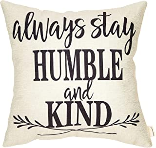Pillow Covers Farmhouse Decor Throw Pillow Covers with Always Stay Humble and Kind Quote Rustic for Couch Sofa,100% Cotton Linen 18 x 18Inch White