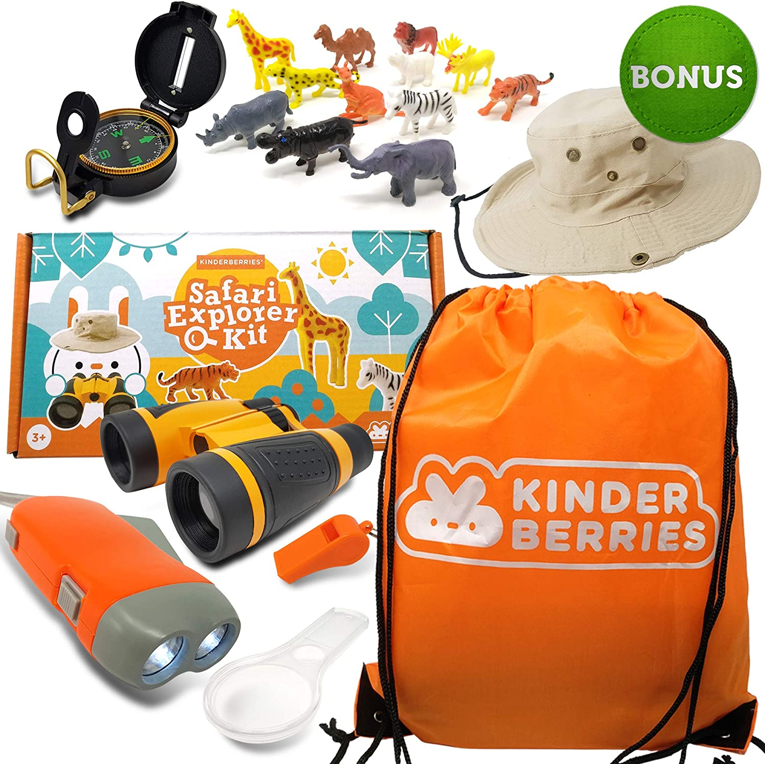 KinderBerries Kids Explorer Kit - Outdoor Binoculars 12pcs Plastic Animals Hand Crank Flashlight Safari Boonie Hat Camping Gear Magnifying Glass Compass - Educational Toddler Toys for Kids