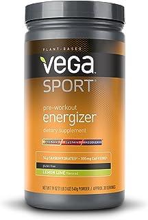 Vega Sport Pre-Workout Energizer Lemon Lime (19oz, 30 Servings) - Vegan, Gluten Free, All Natural, Pre Workout Powder, Non...