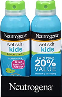 Wet Skin Kids Sunscreen Spray, Water-Resistant and Oil-Free, Broad Spectrum SPF 70+, 5 oz 2PK