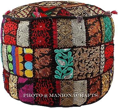 Housse de coussin de sol confortable et décorative traditionnelle avec broderie et patchwork