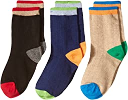 Jefferies Socks Wide Rib Crew Socks 3-Pair Pack (Toddler/Little Kid/Big Kid)