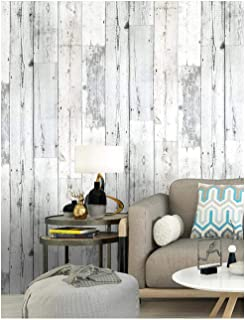Wood Peel and Stick Wallpaper Shiplap Grey/White Removable Distressed Wood Grain Self-Adhesive Wallpaper,Waterproof Contact Paper for Home Decaration 17.7'x118.1''