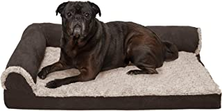 Furhaven Pet Dog Bed - Deluxe Cooling Gel Memory Foam Two-Tone Plush and Suede L Shaped Chaise Lounge Living Room Corner C...