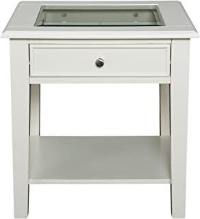 Panorama End Table - Open Display Glass Top w/ Store - Off White Finish