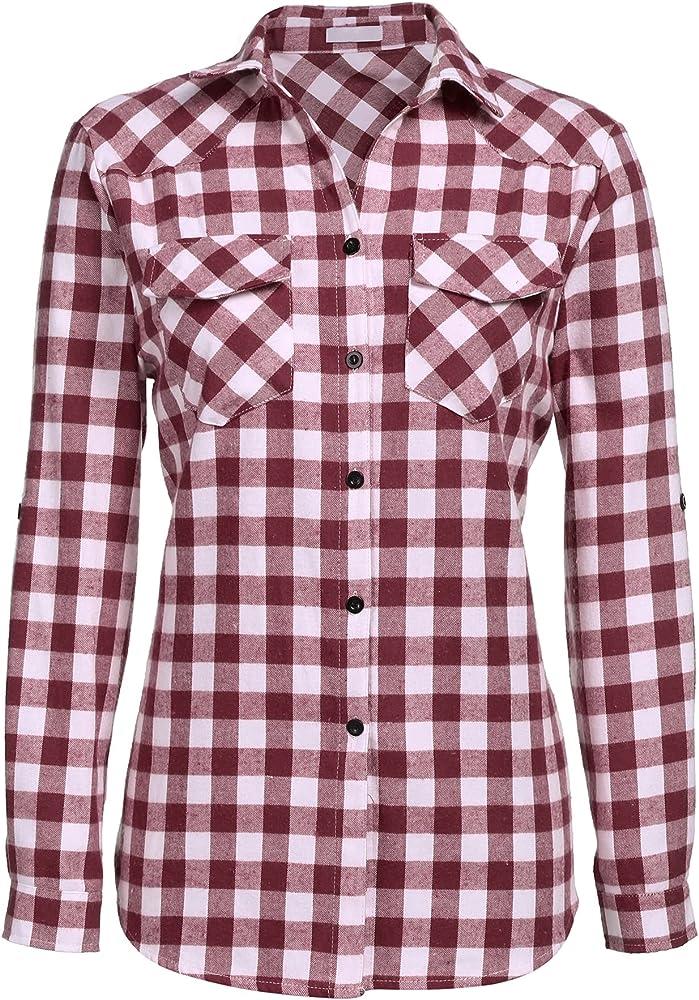Unibelle camicia a quadri a maniche lunghe per donna 80% cotone e 20% poliestere vino rosso