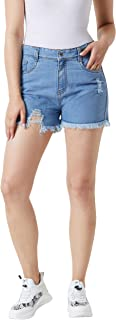 Miss Chase Women's Ripped Fringed Hemline Denim Shorts