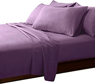 ESSINA Candies Collection Solid Color Twin Sheet Set 3pc, Cotton 620 Thread Count, Deep Pocket Twin Fitted Sheet, Purple Eggplant