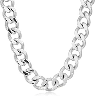 Crucible Jewelry Mens Stainless Steel Cuban Curb Chain Necklace (14 mm), 24-Inch, White