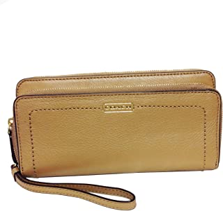 Campbell Leather Double Accordion Zip Wallet F50075 Camel