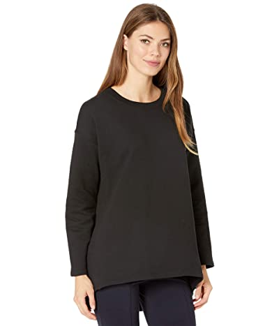 Eileen Fisher Crew Neck High-Low Hem Top (Black) Women