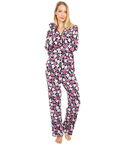 Kate Spade New York Modal Jersey Notch Collar Long Pajama Set (Painted Pansy) Women