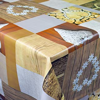 KEVKUS Toile Cirée Nappe Table au Mètre 06166-00 Bois Patchwork Cœurs Taille Sélectionnable en Carré Rond Oval - Bariolé, ...