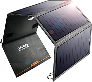 CHOETECH Solar Charger, 24W Smart IC Chip Portable and Highly Efficient Waterproof Solar Charger with Dual Ports for Phone...