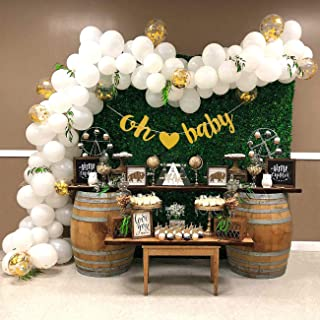 Baby Shower Balloon Garland Arch Kit 16Ft Long Gender Neutral White Gold Balloons Oh Baby Banner Decorations for Party Centerpiece Backdrop Background
