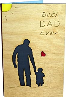 Handmade Real Wood Little Boy with Dad Greeting Card Best Happy Birthday Bday Gift Get Well Thank You Small Wooden Present for Father Step Stepfather God Godfather from Baby Toddler Son Stepson e