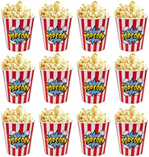 Tebery 12 Pack Plastic Popcorn Tubs Reusable Popcorn Containers Stackable Buckets With Fun Design