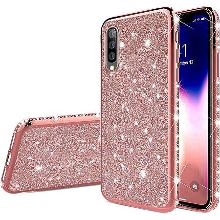 QC-EMART Cover per Samsung Galaxy A20 Custodia in Pelle Oro Rosa Glitter Paillette Luccichio Farfalla Portafoglio Porta Carta Guscio Caso Case Protettiva Custodie Cellulari per Ragazza
