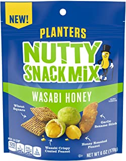 Planters Wasabi Honey Nutty Snack Mix with Peanuts, Sesame Sticks & Wheat Squares (6 oz Pouch)
