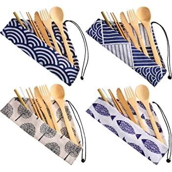 4 Sets Bamboo Travel Utensils Set, Reusable Bamboo Utensil Fork Knife Spoon Chopsticks Straw Cleaning Brush for Travel Picnic Office School (Pattern 2)