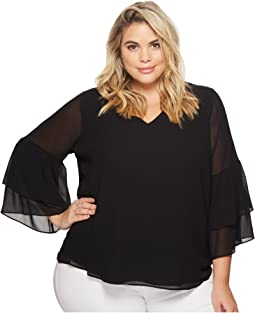 Calvin Klein Plus Plus Size V-Neck Blouse with Two Tier Sleeve