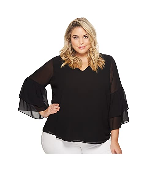 657442375db Calvin Klein Plus Plus Size V-Neck Blouse with Two Tier Sleeve at ...