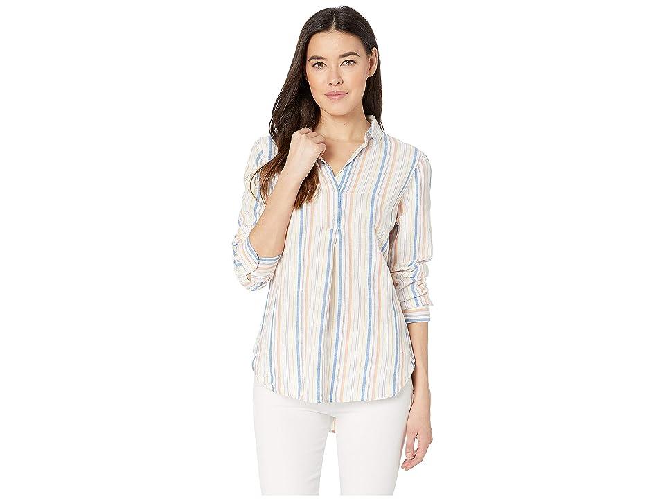 Image of ALEXANDER JORDAN Linen/Cot Long Sleeve Popover Stripe (Multi Stripe) Women's Clothing