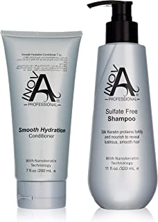 Inova Professional Silk Keratin Shampoo & Conditioner Set - Smooth Protection Sulfate-Free Shampoo & Smooth Hydration Conditioner, 11 Fluid Ounce & 7 Fluid Ounce