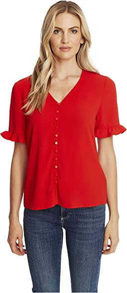 3/4 Sleeve Ruffled Button Down Blouse