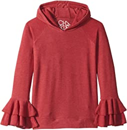 Super Soft Two Tiered Ruffled Sleeve Pullover Hoodie (Little Kids/Big Kids)