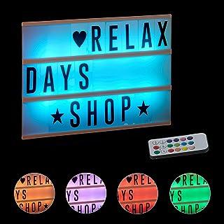 Relaxdays Caja de Luz Led con 85 Letras y Símbolos Cambio de Color, Blanco, 22 X 30 X 4,5 cm