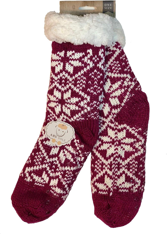 Antonio Plush Sherpa Slipper Socks with Non-Skid Sole