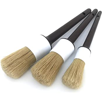 Detail Dudes Boars Hair Ultra Soft Car Detail Brushes - Set of 3 - Perfect for Washing Emblems Wheels Interior Upholstery Air Vents, NO Metal Brush Parts