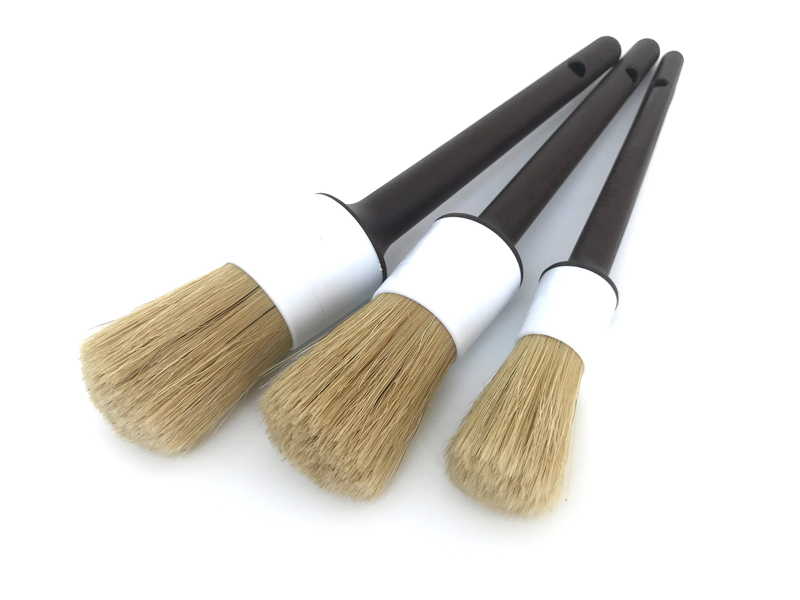 Boars Hair Ultra Soft Car Detail Brushes - Set of 3 - Perfect for Washing Emblems Wheels Interior Upholstery Air Vents, NO Metal Brush Parts